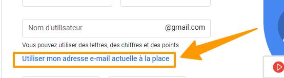Créer votre compte Google - email actuel