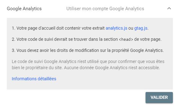 Validation Google Analytics